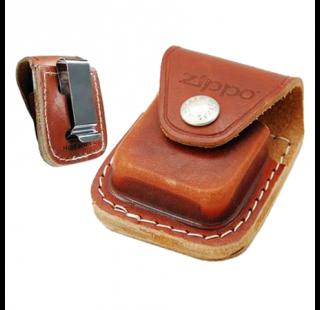Чехол для зажигалки Zippo коричневый вид спереди и сзади